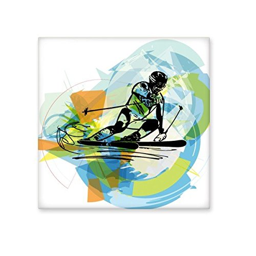 Winter Sport Athletes Synchronized Skiing Sports Freestyle Watercolor Sketch Illustration Ceramic Bisque Tiles for Decorating Bathroom Decor Kitchen Ceramic Tiles Wall Tiles best