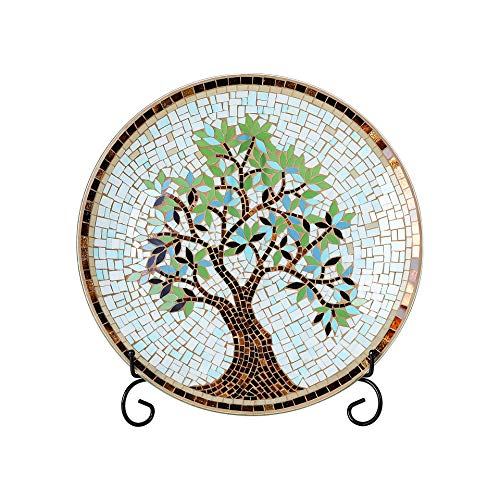 """Whole Housewares 15"""" Round Mosaic Glass Decorative Charger Plate with Stand Tree Pattern"""
