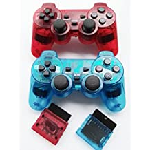 Bowink 2 Packs Wireless Gaming Controllers for Ps2 Double Shock - Clear Red and Clear Blue