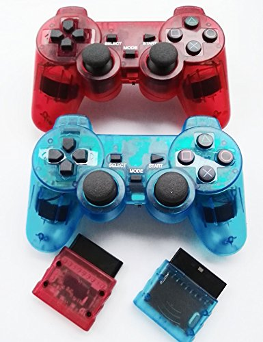 Saloke 2 Packs Wireless Gaming Controllers for Ps2 Double Shock (Clear Red and Clear Blue)