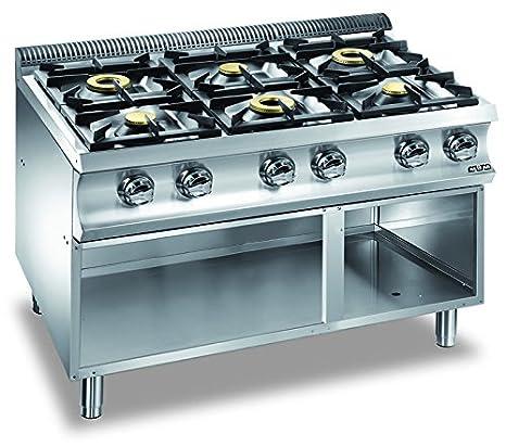 cucina a gas cucina 6 fuochi senza forno monoblocco su armadio aperto g6sa77