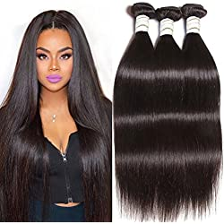 Straight Human Hair Extension - Brazilian Remy 8A Straight 100% Unprocessed Human Virgin Hair Weaves/Weft, Natural Black No Shedding No Tangle Can Be Dyed, washed and curled,14 16 18inch,300g included