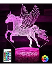 Eenhoorn Nachtlampje voor Kinderen, 3D Illusie Lamp 16 Kleuren Veranderende Dimbare Eenhoorn Lamp voor Meisjes Slaapkamer Decor, Eenhoorn Speelgoed Verjaardag Kerstcadeaus voor Meisjes 2 3 4 5 6 7 8+ Jaar Oud