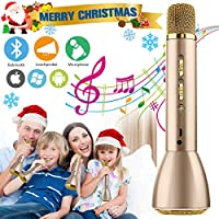Wireless Karaoke Microphone for Kids, Kids Microphone Bluetooth Child Echo Mic Portable Karaoke Machine Cordless with Speaker for Boys Girls Adult Party Music Singing Android iOS Phones(Gold)