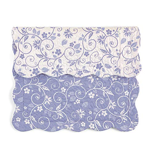 Collections Etc Floral Scroll Two-Tone with Scalloped Edges Reversible Pillow Sham, Lavender, Sham ()