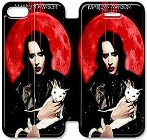 iPhone 5 5s Funda, GIORNNHUG7027 iPhone 5 5s Flip Funda, Lujo Manera Cuero PU Flip Funda cubierta para iPhone 5 5s (Marilyn Manson)