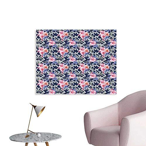(J Chief Sky Camo Wallpaper Sticker Victorian Theme Pink Retro Design Roses Urban Fashion Nature Feminine Decor Mural for Home W36 xL24)