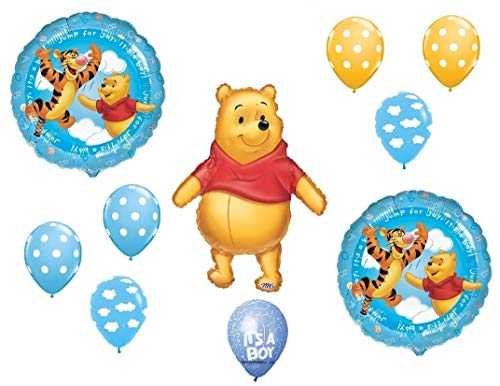 DalvayDelights Winnie The Pooh Baby Boy Clouds Shower Welcome Little One Balloons Bouquet Party Decor]()