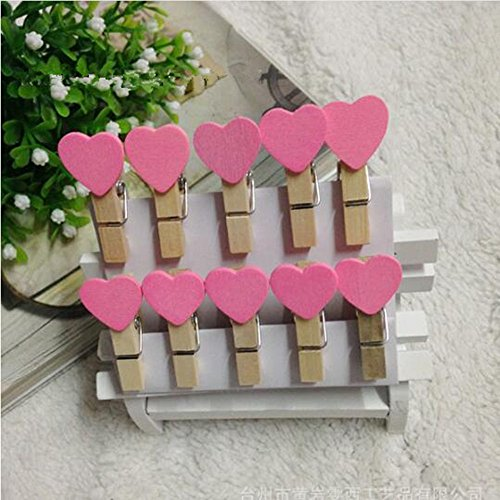 SY-001 50PCS/Lot Fashion Mini Love Heart Wooden Cartoon Photo Clip Clamps Cute Paper Clips multi color to choose (pink) -