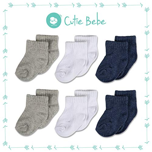 (Cotton Baby Solid Color Crew Socks, Boys or Girls Sizes Newborn Infant to Toddler, 6-Pack, White/Gray/Navy by Cutie Bebe)