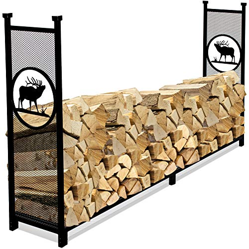INNO STAGE Fire Wood Log Rack Holder for Firewood Pile Storage Outside Adjustable Fireplace Stand Stacking with Eye-catching Elk Design - 8' (Firewood Design Rack)