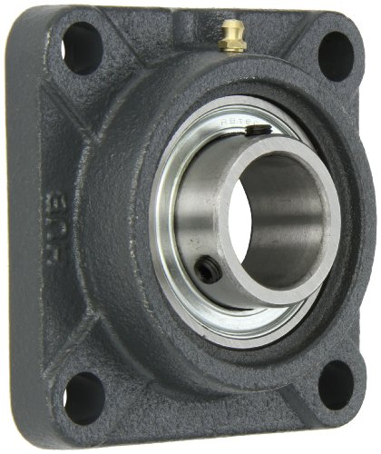 "Hub City FB250URX1-3/8 Flange Block Mounted Bearing, 4 Bolt, Normal Duty, Relube, Setscrew Locking Collar, Narrow Inner Race, Cast Iron Housing, 1-3/8"" Bore, 1.673"" Length Through Bore, 3.622"" Mounting Hole Spacing"