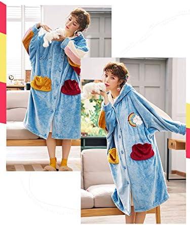 Vestidos de mujer, Pijama Acolchado Terciopelo Coral, Vestidos de terciopelo largos y largos, Ropa for el hogar de otoño e invierno, Albornoces de pato de dibujos animados Cómodo (Size : L) :