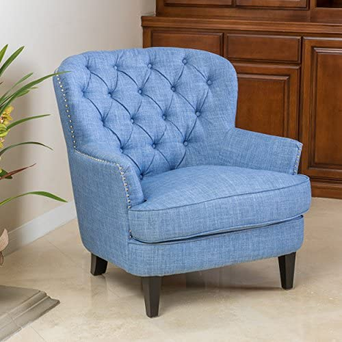 Christopher Knight Home Tafton Fabric Club Chair, Light Blue