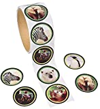 """Paper Wildlife Photo Roll of Stickers (100 Pack) 1 1/2"""". Paper."""