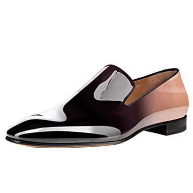 b9951389754 Cuckoo Men s Patent Leather Dress Shoes Slip On Oxford Brown Loafers UK6.5