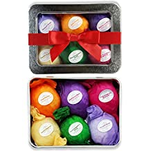Bath Bomb Gift Set By Rejuvelle - 6 Essential Oil Ultra Lush Handmade Spa Bomb Fizzies. Infused with All Natural, Organic Shea and Cocoa Butter. A Unique Gift for Her. Dry Skin Relief, Stress Relief and Relaxation Is Just One Bathtub Away!