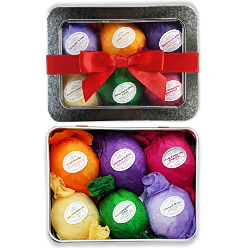 Bath Bomb Gift Set USA - 6 Vegan Essential Oil Natural Lush Fizzies Spa Kit. Organic Shea/Cocoa Soothe Dry Skin. Luxury Gift for Valentine, Women, Mom, Teen Girl, Birthdays. Add to Bubbles or Baskets