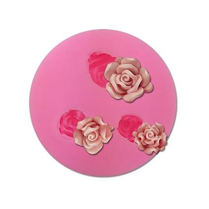 Lindo Romántico Rosa Pastel De Silicona Molde De Chocolate Fondant Moldes De Jabón Moldes De Silicona