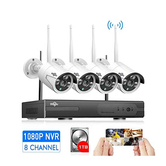 - 51qAl0xxiJL - [Expandable 8CH] Wireless Security Camera System with 1TB Hard Disk with Audio, Hiseeu 8 Channel NVR 4Pcs 1080P 2.0MP Night Vision WiFi IP Security Surveillance Cameras Home,Outdoor, Easy Remote View