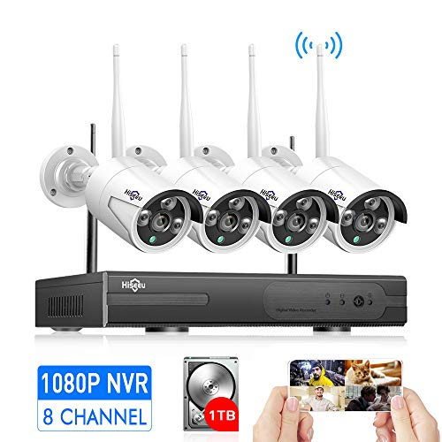 [Expandable 8CH]Wireless Security Camera System Outdoor with Audio, Hiseeu 8 Channel NVR 4Pcs 1080P 2.0MP Night Vision WIFI IP Security Surveillance Cameras Home, Easy Remote View, 1TB HDD Pre-install