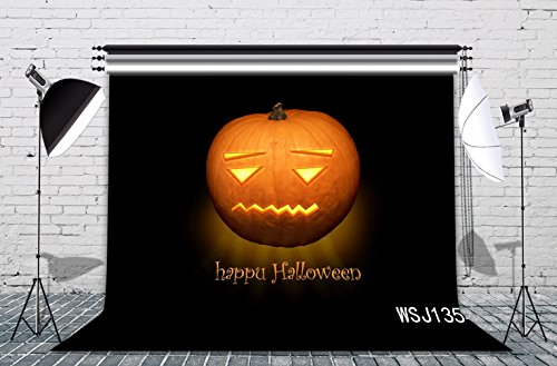 LB 7X5ft Halloween Pumpkin Decor in Unhappy Expression Halloween Photography Backdrop Vinyl Customized Halloween Party Photo Background Studio Prop WSJ1354 (Unhappy Halloween Pumpkin)