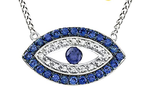 Vvs1 Eye - AFFY 1/20 Ct Cubic Zirconia Evil Eye Pendant Necklace In 14K White Gold Over Sterling Silver