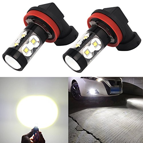Alla Lighting 50W High Power CREE Super Bright 6000K Xenon White H11 H8 H16 Type 2 LED Bulbs for Fog Light Lamp Replacement (2009 Malibu Fog Lights compare prices)