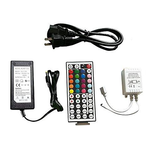 Lighten Glimmer 12V Power Supply, 44key Wireless IR Remote Control + Control Box + 12V 5A LED Transformer for SMD 3528 5050 RGB Led Strip Lights (Rgb Remote Control Box)