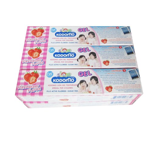 Pack 6 of Kodomo Baby Gel Toothpaste Strawberry Flavor Sugar Free for 6 months up