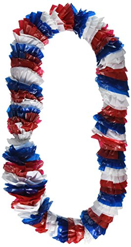 Amscan 4th July Patriotic Theme Plastic Leis Accessory Wearable Party Supplies (12 Piece), Red/White/Blue, 36'' by Amscan