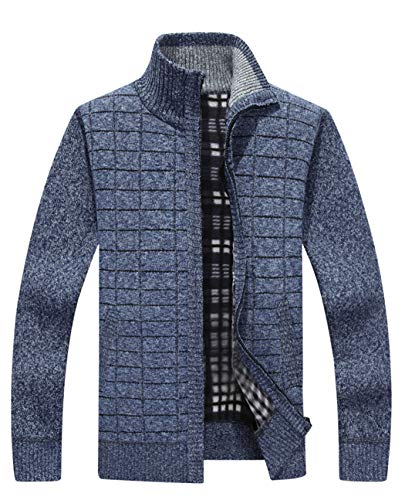 Vcansion Mens Classic Long Sleeve Full Zip up Plus Knitted Fleece Cardigan Sweaters