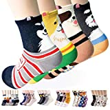 Womens Casual Socks - Cute Crazy Lovely Animal Cats Dogs Pattern Good for Gift One Size Fits All, 4 Pairs (Dog Ringle)