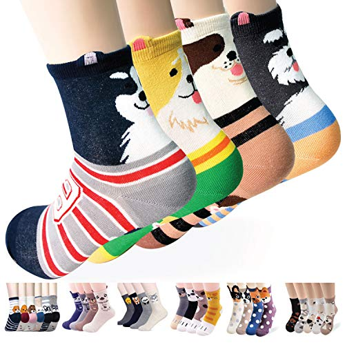 Women's Novelty Crew Socks Gift Idea | Socks gift | Animal socks | Cat Lover Gift (Dog Ringles)