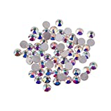 Pandahall 100pcs 3~3.2mm Faceted Grade a Non Hot-fix Glass Rhinestones Diamante Gems Flat Back Embellishments for Clothing, Crystal AB Color