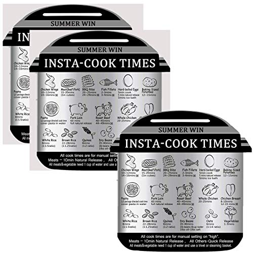 Summer Win 3 Pack Instant Pot Cheat Sheet Food Images Cooking Times Sheet Accessories for 17 Common Prep Functions(Include: 1Pack Magnetic Sheet+2Pack Self Adhesive Aluminum foil Sheet)