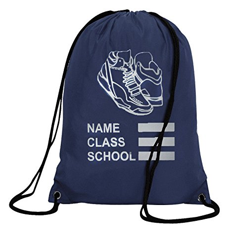 Personalised Burgundy Drawstring Bag Sack Gym PE Swim  School Print