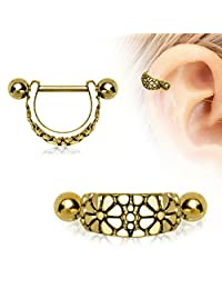 Daisy Ear Cuff Cartilage Earring Gold Plated 316L Surgical Steel (Sold Individually)