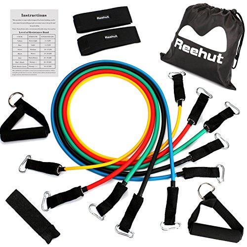 Reehut Resistance Bands - 12-Piece Set Includes 5 Exercise Tubes, Door Anchor, 2 Foam Handles, 2 Ankle Straps, Manual and Carrying Case - Wire Size Charts