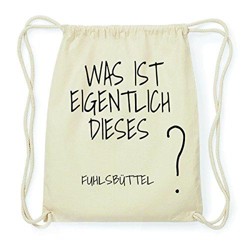 JOllify FUHLSBÜTTEL Hipster Turnbeutel Tasche Rucksack aus Baumwolle - Farbe: natur Design: Was ist eigentlich