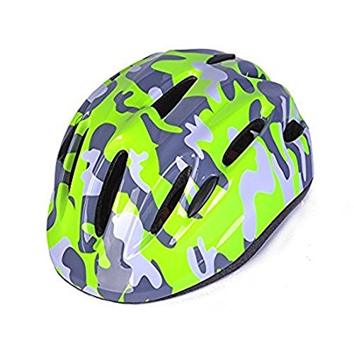 Camouflage Multi-spot Kids Safety Protective Skateboard Bike Skating Helmet Comfortable Adjustable Toddler Teens Youth Girls Boys Cycling Rollerblading scooters 3-5 5-8 years (light green) -