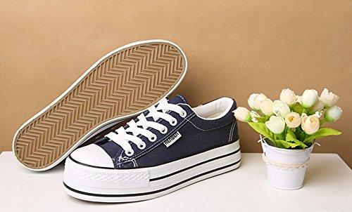 Sfnld Dames Laag Uitgesneden Platform Canvas Schoenen Sneaker Donkerblauw