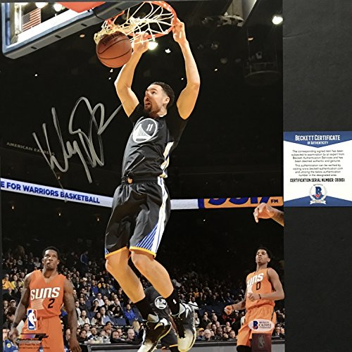 Autographed/Signed Klay Thompson Golden State Warriors 11x14 Basketball Photo Beckett BAS COA (Basketball Signed Autographed Photo)
