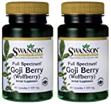 "Cheap Swanson Goji Berry ""Wolfberry"" — 2 Bottles — each of 500 Mg 60 Caps"