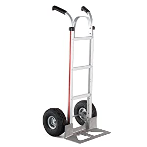 Magline HMK116UA4 Aluminum Hand Truck, Flared Double Pistol Grip Handle, Pneumatic Wheels, 500lbs Capacity