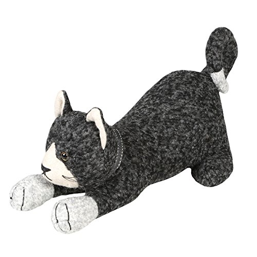 WHAT ON EARTH Pouncing Cat Doorstop - Wool and Polyester - Weighted with Sand