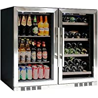 Drinks Refrigerator with Glassdoor KingsBottle - Innovative Combo 100 Can Beverage Cooler + 28 Bottle Wine Refrigerator with Glass Door,Dual Temperature Fridge with Temperature Control,Vibration Free