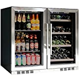 KingsBottle Vibration Free Beverage & Wine Refrigerator with Glassdoor – 143.3 pounds Combo Fridge with 100 Beverage Cans or Bottles + 28 Wine Bottles – Drinks & Wine Dual Cooler, Temperature Control