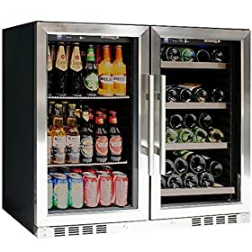 39″ Wide Wine and Beer Cooler Combo, Two temperature zone, top-selling under counter beer and