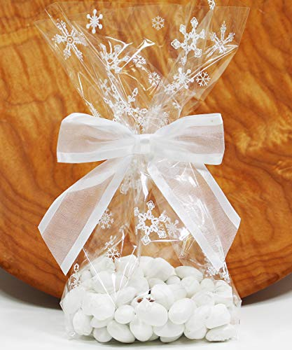 Saybrook Products Winter Snowflakes Cellophane Treat/Party Favor Bags with Twist-Tie Organza Bow. Set of 10 Ready-to-Use, Gussetted 11x5x3 Goodie Bags with Bows. White, Clear